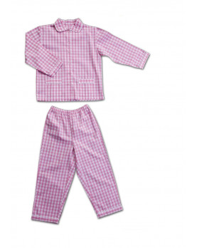 Girl pajamas checked cotton