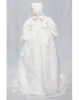 Biancospino embroidered christening gown