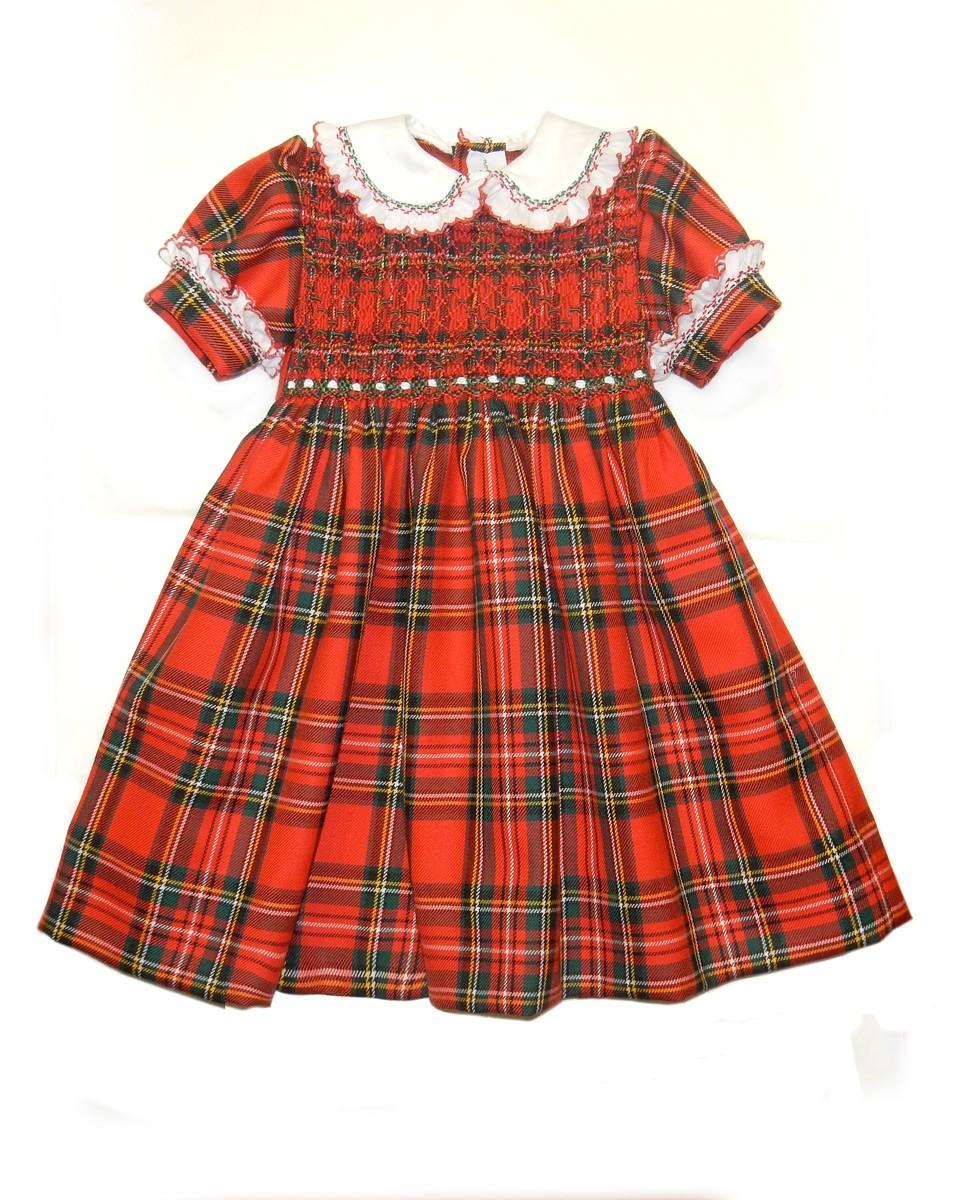 miglior sito web 050fc 12f8f Abito scozzese per bambina con smock,