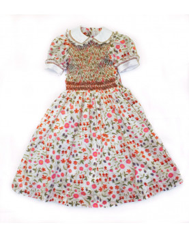 "Girl dress in cotton flowers Liberty ""Fior di Vetro"""