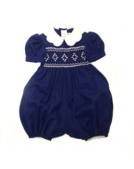 Baby smocked remper Michele navy blue