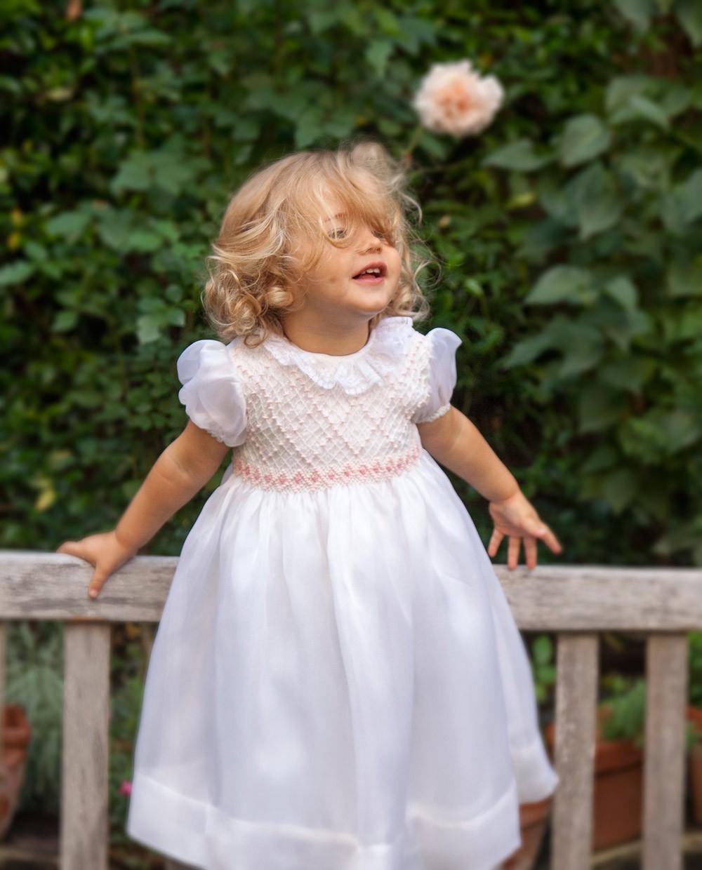 Vestiti Eleganti Bimba 3 Anni.Abito Cerimonia Punto Smock Organza Di Seta Per Bambina Alberiga