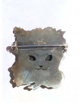"Silver brooch ""Yuko Cat"" back"