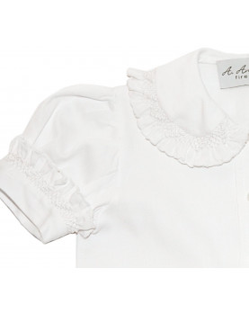 Smocked girl and baby boy shirt 5 detail