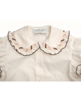 Camicia per bambini con Smock 5 smock rosa e marrone