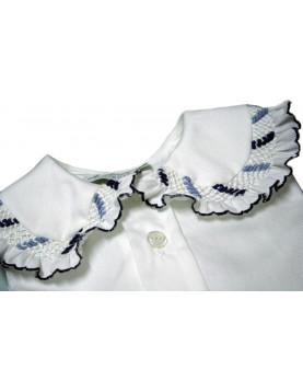 Smocked shirt 5 smock nany and pale blue