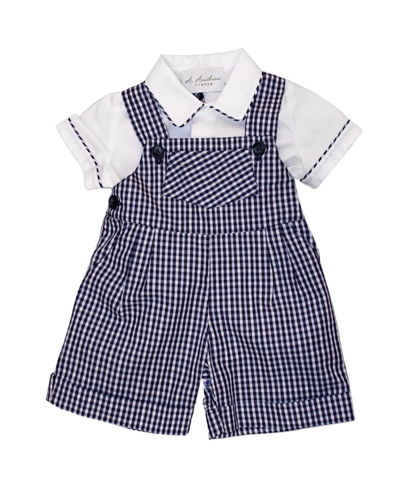 Baby navy checks dungaree with matching shirt