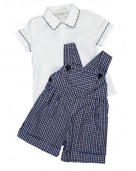 Salopette quadretti blu e camicia per bambino