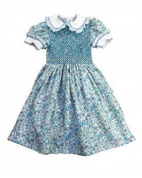Girl smocked flowers fabric dress Carla