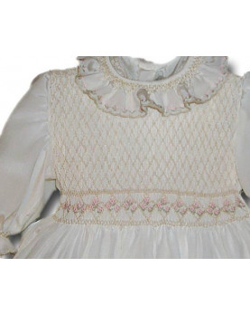 Christening gown Gardenia, smocked crepe silk made in italy gown