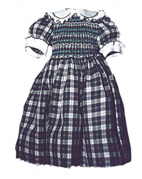 Girl plaid cotton smocked dress Cornelia