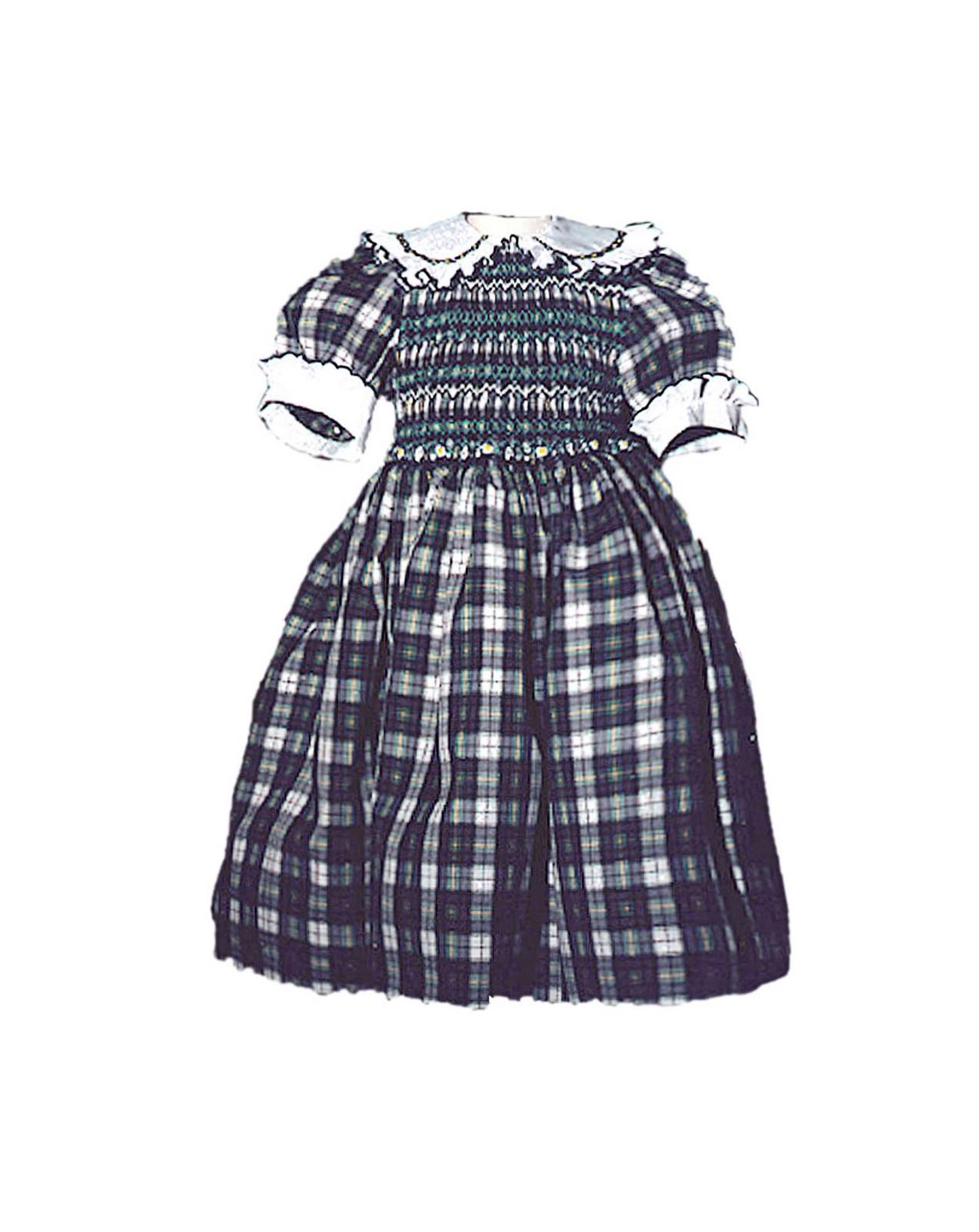 Girl plaid cotton smocked dress Cornelia