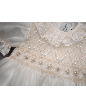 Christening and party girl dress , with smock and little pearlsOfelia