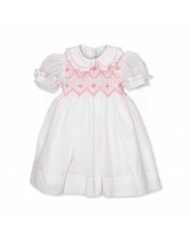 Girl smocked dress with smock, cotton plume tis, Frida