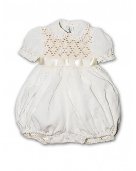 baby smocked romper Rododendro