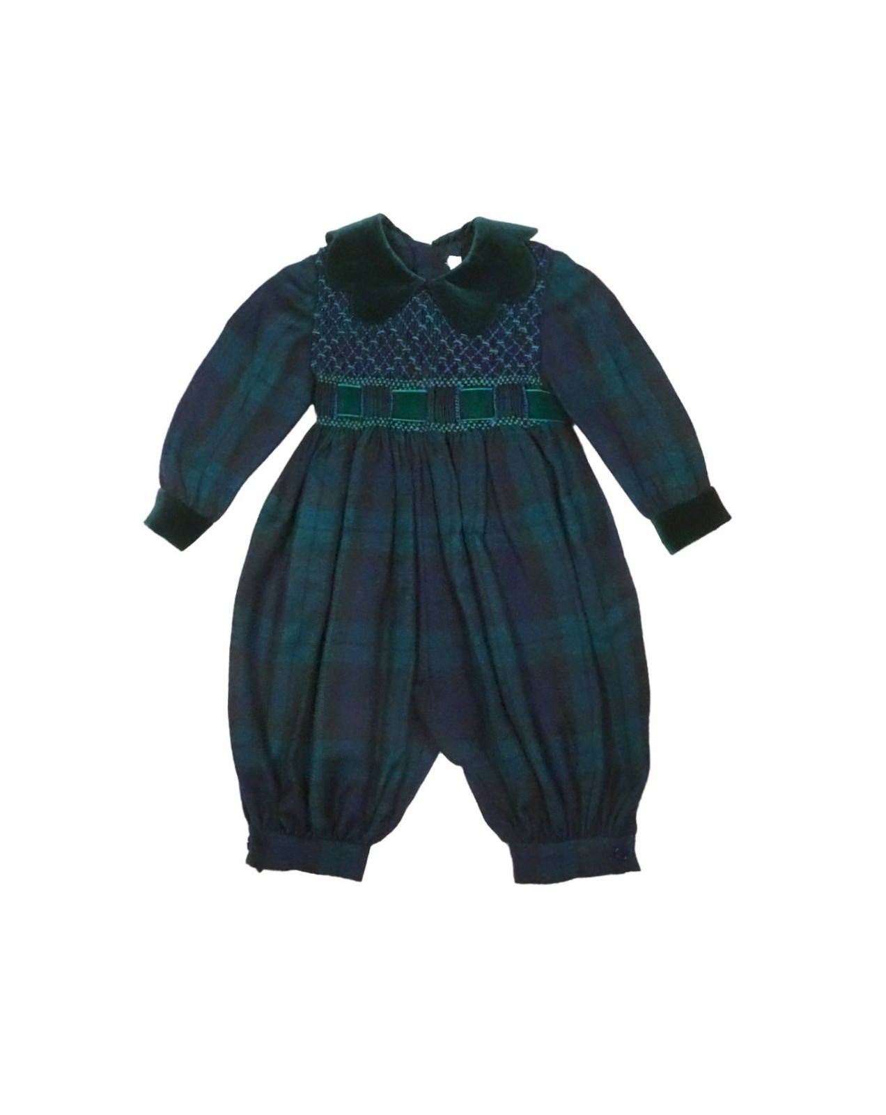 Plaid smocked baby romper Orchidea