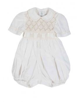 Claudio christening smocked romper