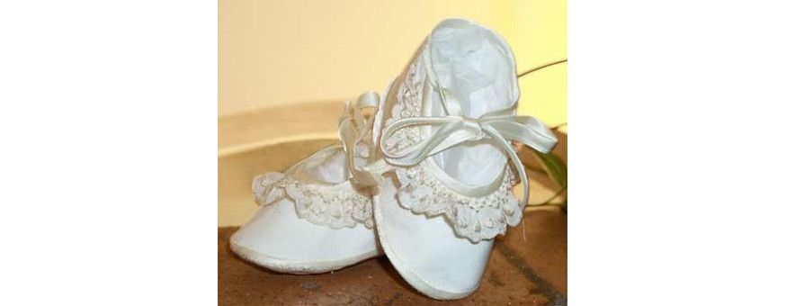 Christening booties and shoes for baby girl and baby boy.